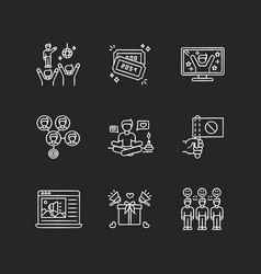 Social media promotion chalk white icons set vector