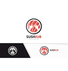 Sushi and hands logo combination japanese vector