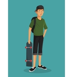 teen boy green tshirt skater cap vector image
