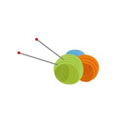 Three ball of wool yarn and two metal needles vector