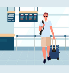 tourist with baggage in departure lounge vector image