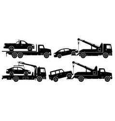 tow trucks silhouette vector image