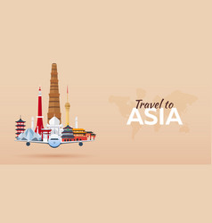 travel to asia airplane with attractions travel vector image