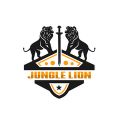 two lion shield logo vector image
