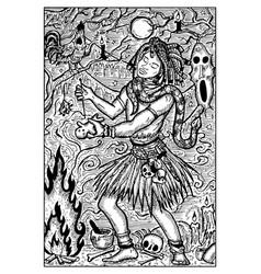 Voodoo warlock engraved fantasy vector