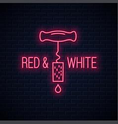 wine neon sign wine screw cap neon banner on wall vector image