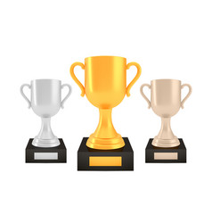 winner awards set gold silver bronze trophy cups vector image