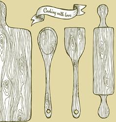 Wooden utencil vector image