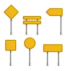 yellow road signs empty traffic highway speed vector image