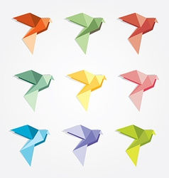 3d origami low polygon birds vector image vector image