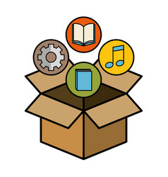box and objects design vector image