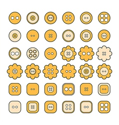 Set of sewing buttons of different shapes vector image vector image