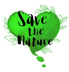 green watercolor heart vector image