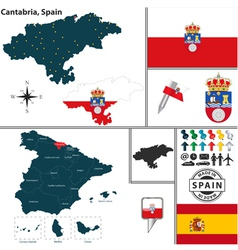 Map of Cantabria vector image