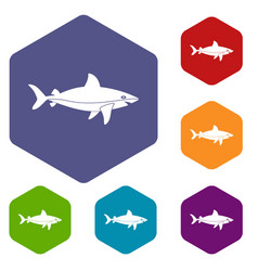 shark fish icons set hexagon vector image vector image