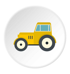 yellow tractor icon circle vector image vector image
