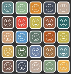 Circle face flat icons on balck background vector image vector image