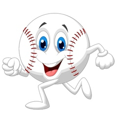 Cute baseball ball cartoon running vector image vector image