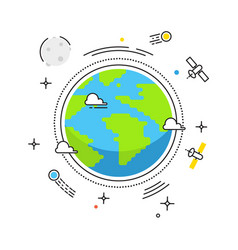 earth lines design earth in space with vector image