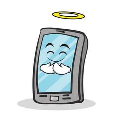 Innocent face smartphone cartoon character vector