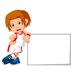 runner boy and sign board vector image