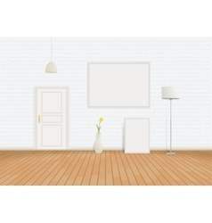 White Room of bricks and parquet vector image vector image