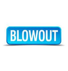 blowout blue 3d realistic square isolated button vector image vector image