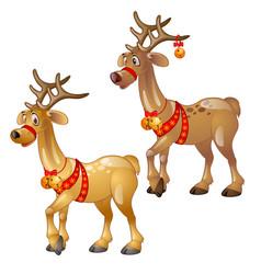 cartoon figures of christmas deer isolated vector image