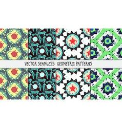 Grunge colorful geometric seamless patterns set vector image