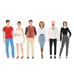 Handsome young guys men with beautiful cute girls vector image