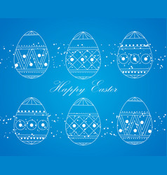 happy easter eggs white on a blue easter banner vector image vector image