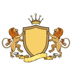 Heraldic lions with shield and ribbon Emblem or vector image