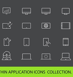 Modern gadgets pictograms collection Lineart vector image vector image