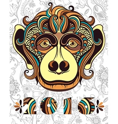 Patterned head of the monkey vector image