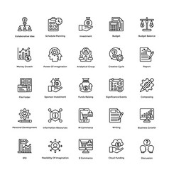 Project management line icons set 10 vector