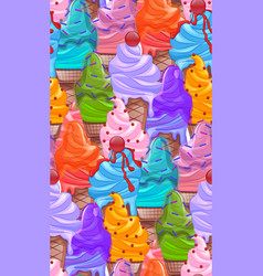 seamless bright texture with cartoon ice cream vector image vector image