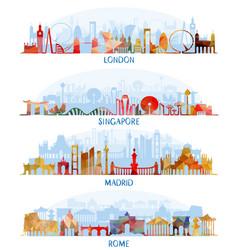 skyline flat set london singapore madrid rome vector image vector image