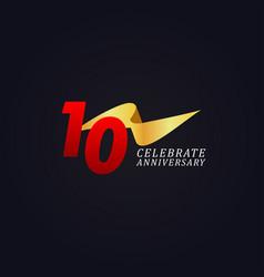10 years anniversary celebration elegant gold vector