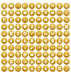 100 sandwich icons set gold vector