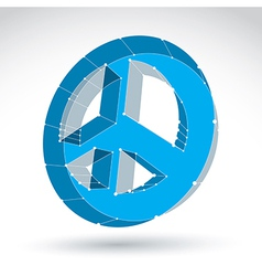 3d mesh blue web peace icon isolated on white vector