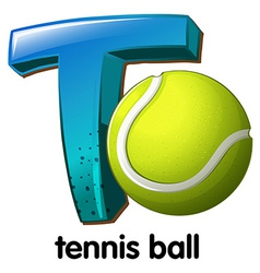 A letter T for tennis ball vector