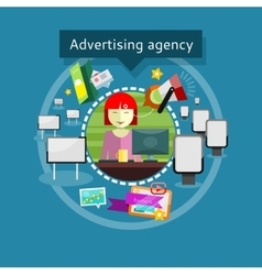 Advertising Agent in Office Presents Ideas vector