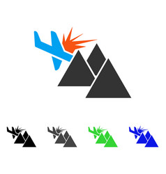 Airplane mountain crash flat icon vector