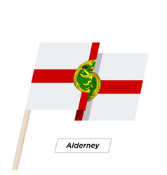 Alderney ribbon waving flag isolated on white vector