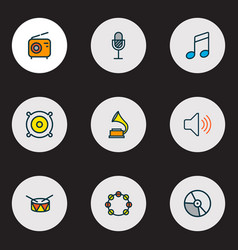 audio icons colored line set with radio speaker vector image