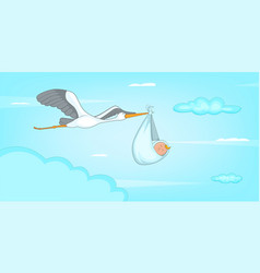Baby born stork horizontal banner cartoon style vector