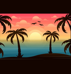 beautiful landscape with ocean and palm trees vector image