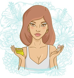 Beautiful young woman with a face cream vector image