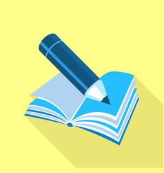 blue pencil on book icon flat style vector image