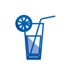 blue shading silhouette of cocktail drink with vector image